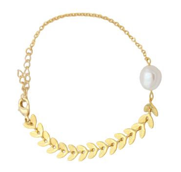 bracelet asymetrique or fin perle nacre leonie et france