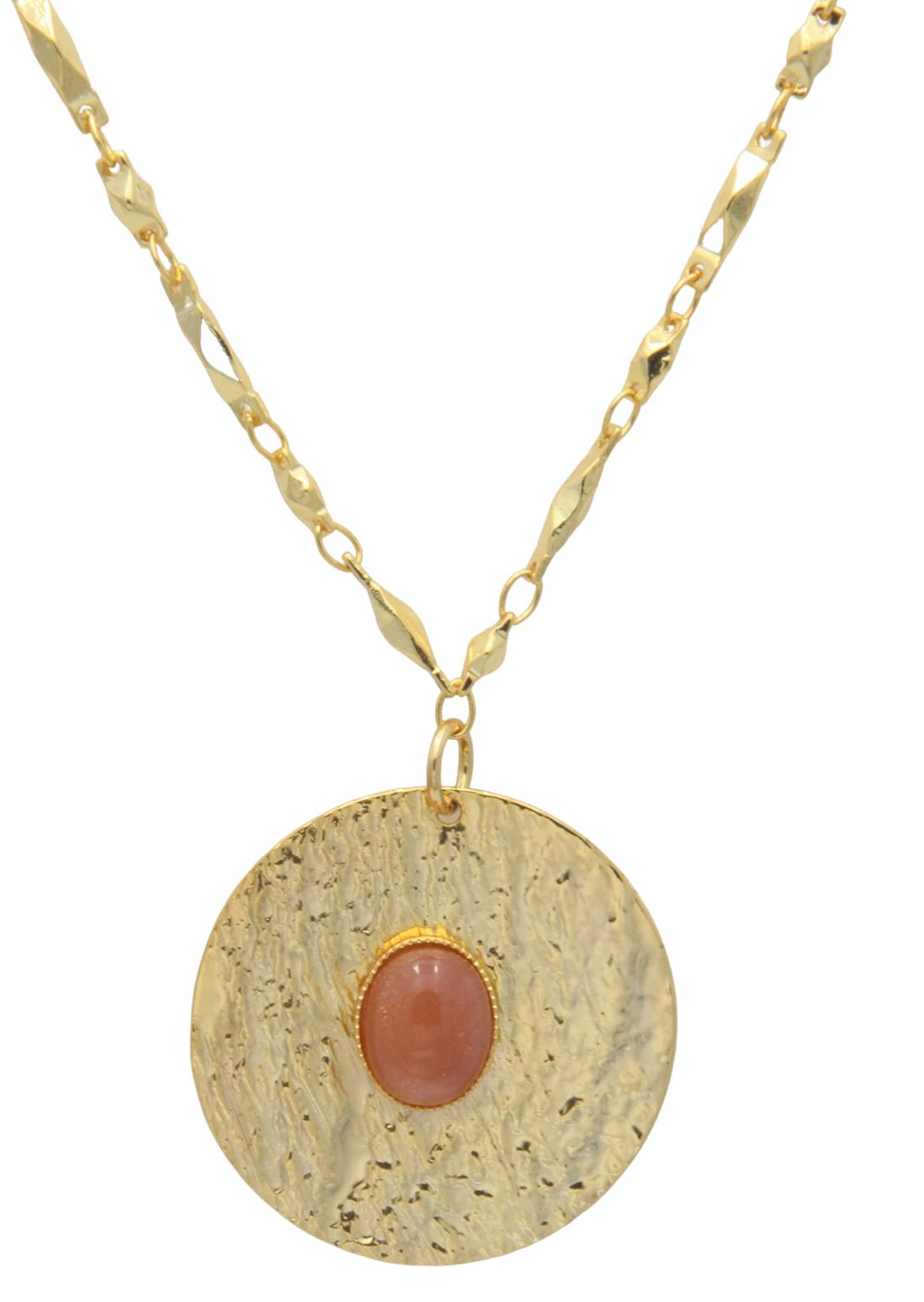 collier femme original pendentif pierre de soleil or fin leonie et france min